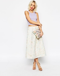 Asos Prom Skirt In Metallic Jacquard Pastel