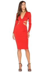 Becandbridge Trixie Long Sleeve Plunge Dress Red