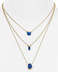 Aqua Christine Triple Strand Necklace 15 Gold Blue