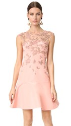 Monique Lhuillier Cap Sleeve Illusion Dress With Embroidery Rose Pink