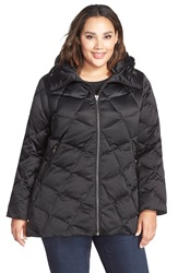 Kristen Blake Hooded Diamond Quilted A Line Down Coat Plus Size Black