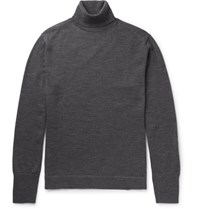Officine Generale Nina Slim Fit Merino Wool Rollneck Sweater Anthracite