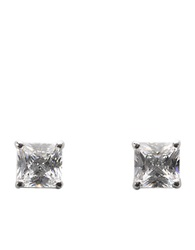 Lord And Taylor Platinum Plated Sterling Silver Square Signity Cubic Zirconia Basket Set Stud Earrings