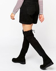Kg By Kurt Geiger Trooper Chunky Flat Suede Over The Knee Boots Black Suede