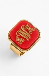 Women's Moon And Lola 'Vineyard' Personalized Monogram Ring Ruby