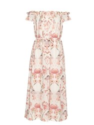 Mother Of Pearl Lydia Floral Print Silk Dress White Multi