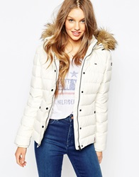 Tommy Hilfiger Hilfiger Denim Padded Jacket With Faux Fur Trimmed Hood White