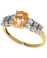 Macy's Citrine 1 Ct. T.W. And Diamond Accent Ring In 14K Gold Orange