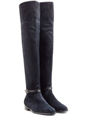 Burberry Shoes And Accessories Suede Over The Knee Boots Blue