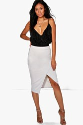 Boohoo Wrap Split Front Midi Skirt Dove