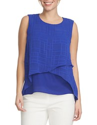 Chaus Asymmetrical Sheer Plaid Blouse Blue
