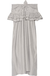 Isa Arfen Off The Shoulder Striped Cotton And Silk Blend Dress White