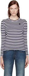 Comme Des Garcons Navy And White Striped Small Heart Patch T Shirt