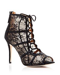 Badgley Mischka Sherry Lace Peep Toe Booties Black