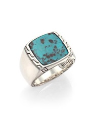 John Hardy Batu Classic Chain Turquoise And Sterling Silver Signet Ring Silver Turquoise