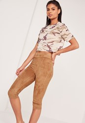 Missguided Cropped Faux Suede Leggings Tan Brown