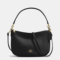 Coach Chelsea Crossbody In Pebble Leather Light Gold Black