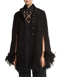 Nanette Lepore Button Front Cape With Feather Trim Black