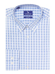 Chester Barrie Check Tailored Fit Long Sleeve Button Down Shirt Blue
