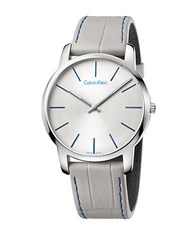 Calvin Klein City Stainless Steel Grey Leather Strap Watch