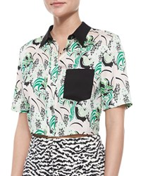 Veronica Beard Printed Stretch Silk Crop Top Palm Garden