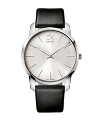 Calvin Klein City Stainless Steel Black Leather Strap Watch K2g211c6