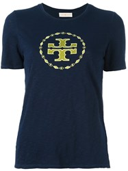 Tory Burch Embroidered Logo T Shirt Blue