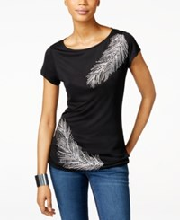Inc International Concepts Embellished Feather T Shirt Only At Macy's Deep Black