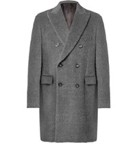 Helbers Double Breasted Alpaca And Wool Blend Overcoat Dark Gray