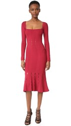 Cushnie Et Ochs Long Sleeve Knit Trumpet Dress Ruby
