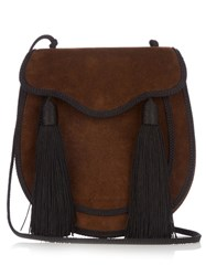 Saint Laurent Opium 2 Tassel Trim Suede Cross Body Bag Black Brown