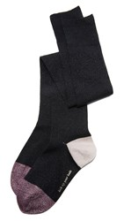 Kate Spade Lurex Rib Pop Over The Knee Socks Black