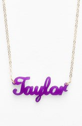 Women's Moon And Lola 'Script Font' Personalized Nameplate Pendant Necklace Violet Gold