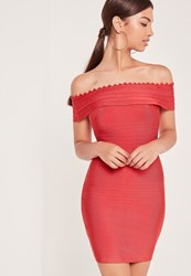 Missguided Premium Bandage Bardot Bodycon Dress Red Pink