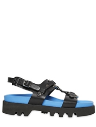 Dsquared Leather Sandals With Neon Insole Black Blue