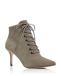 Pour La Victoire Vittoria Suede Pointed Toe High Heel Booties Taupe