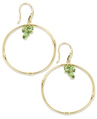 Sis By Simone I Smith 18K Gold Over Sterling Silver Earrings Green Crystal Circle Drop Earrings 1 5 Ct. T.W.