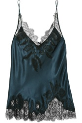 Carine Gilson Chantilly Lace Trimmed Silk Satin Camisole