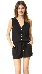 Splendid Button Up Romper Black