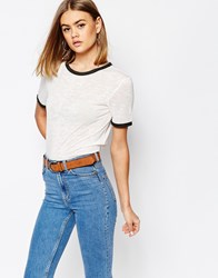 Daisy Street Burnout Retro T Shirt With Contrast Trim White