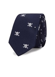 Peckham Rye Skull And Crossbones Silk Twill Tie Navy