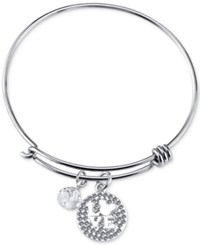 Disney Mickey Mouse Crystal Charm Bracelet In Stainless Steel