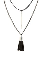 Women's Cara Layered Tassel And Bar Pendant Necklace