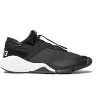 Y 3 Future Suede And Leather Trimmed Neoprene Sneakers Black
