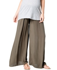 A Pea In The Pod Maternity Smocked Wide Leg Pants Olive