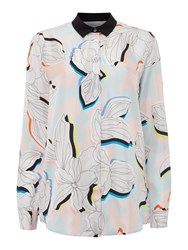 Paul Smith Shirt Blouse With Large Flower Print Multi Coloured