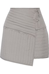 Tibi Juna Wrap Effect Quilted Silk Mini Skirt Gray