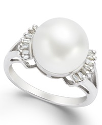 Macy's Cultured Freshwater Pearl 11Mm And Diamond 1 5 Ct. T.W. Ring In 14K White Gold
