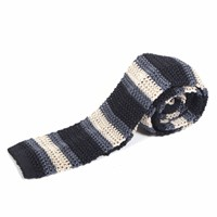 Nick Bronson Knitted Silk Stripe Tie Black Dusty Blue Grey
