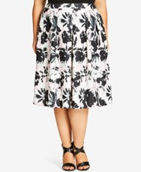 City Chic Plus Size Printed A Line Skirt Musk